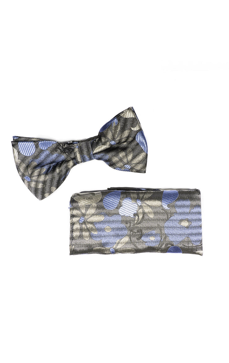 ROGERS GREY FLORAL BOWTIE & POCKET SQUARE