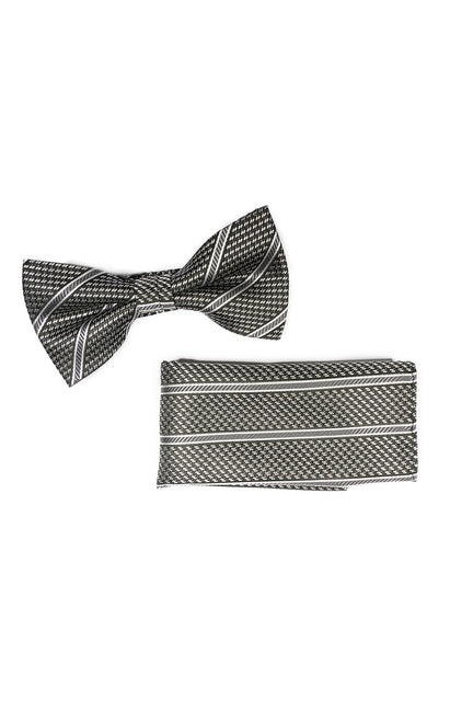 WALKER GREY GEO BOWTIE & POCKET SQUARE