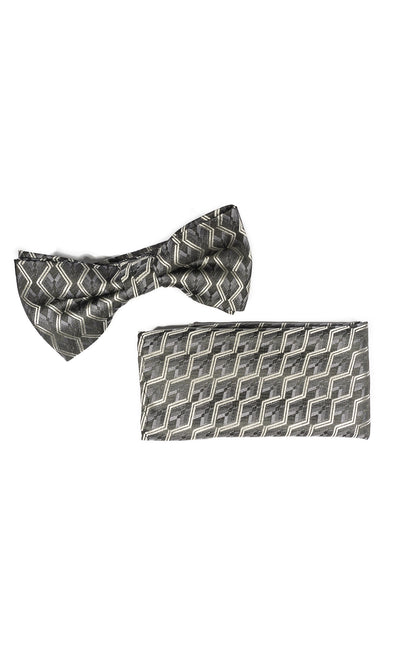 STEVENS GREY GEO BOWTIE & POCKET SQUARE