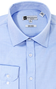 SLIM FIT NON IRON BLUE BUTTON CUFF  DRESS SHIRT