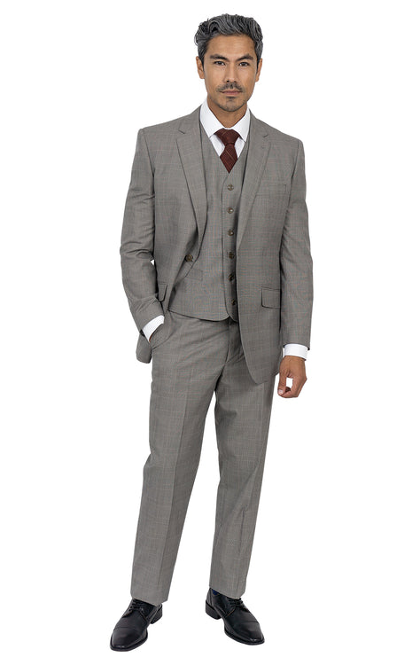 ELIOT TAN TAILORED FIT 3 PC SUIT