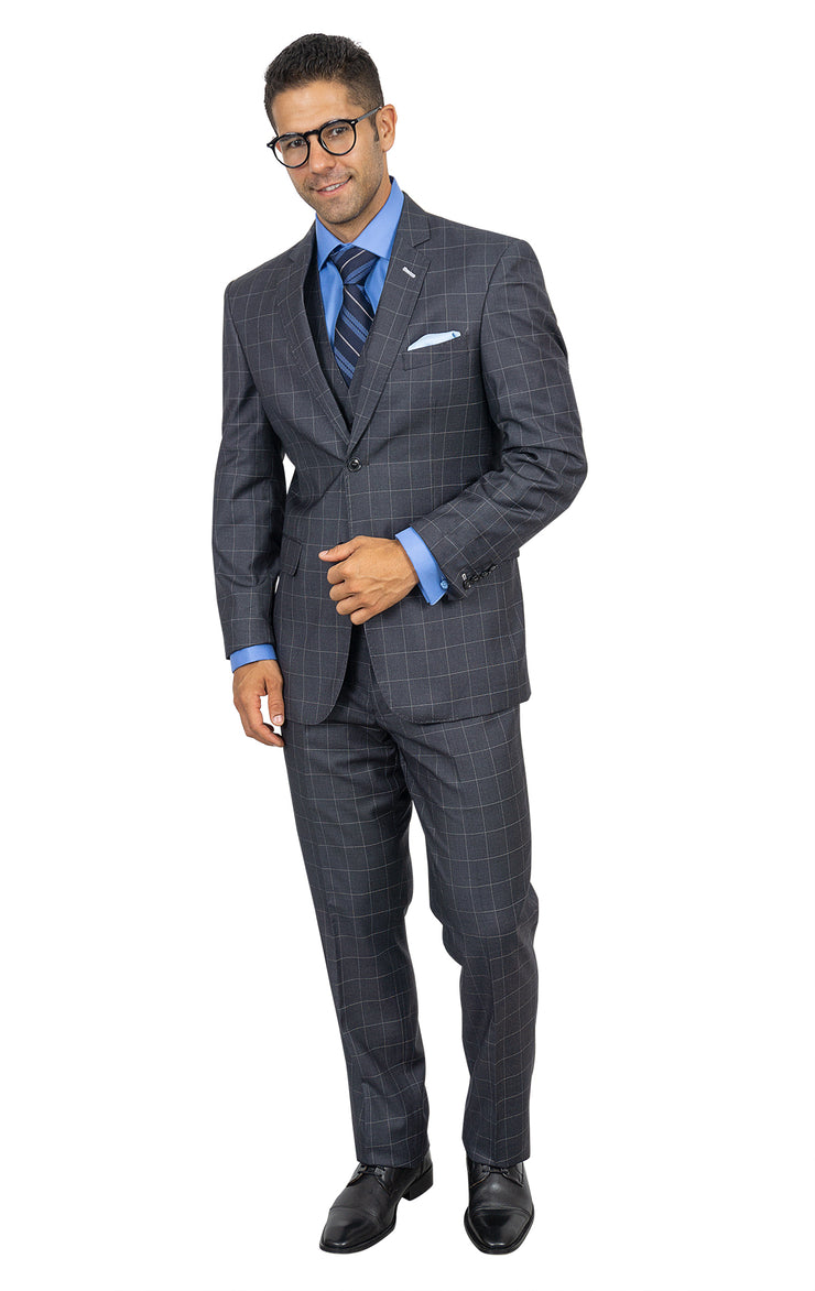 TWAIN CHARCOAL TAILORED FIT 3 PC SUIT