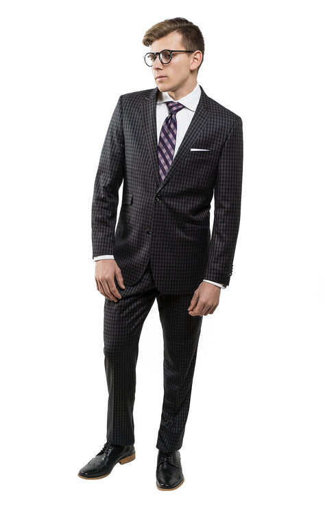 VALENTI BLACK CHECKERED SUIT