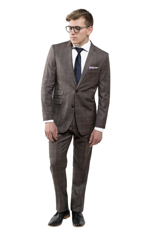 VALENTI BROWN PLAID SUIT