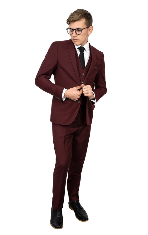 GARNER BURGUNDY SUPER SLIM FIT 3 PC SUIT