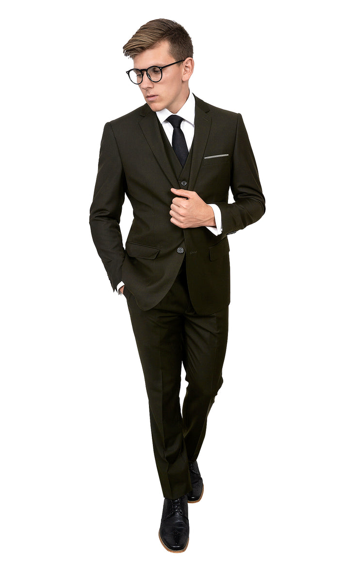 WILBURN OLIVE SLIM FIT 3 PC SUIT