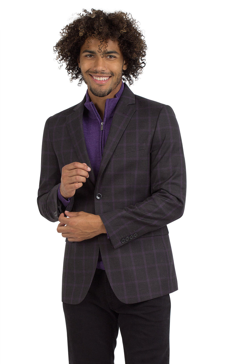 CAIRO PLAID CHARCOAL SUIT SEPARATE JACKET
