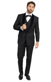 MOORE BLACK MODERN FIT 3PC TUXEDO
