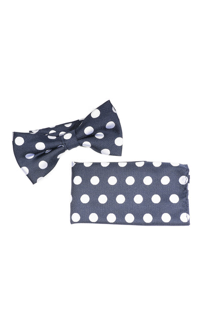 BART NAVY DOT BOWTIE & POCKET SQUARE