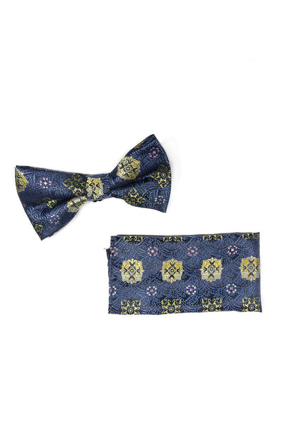 RONNIE NAVY GEO BOWTIE & POCKET SQUARE