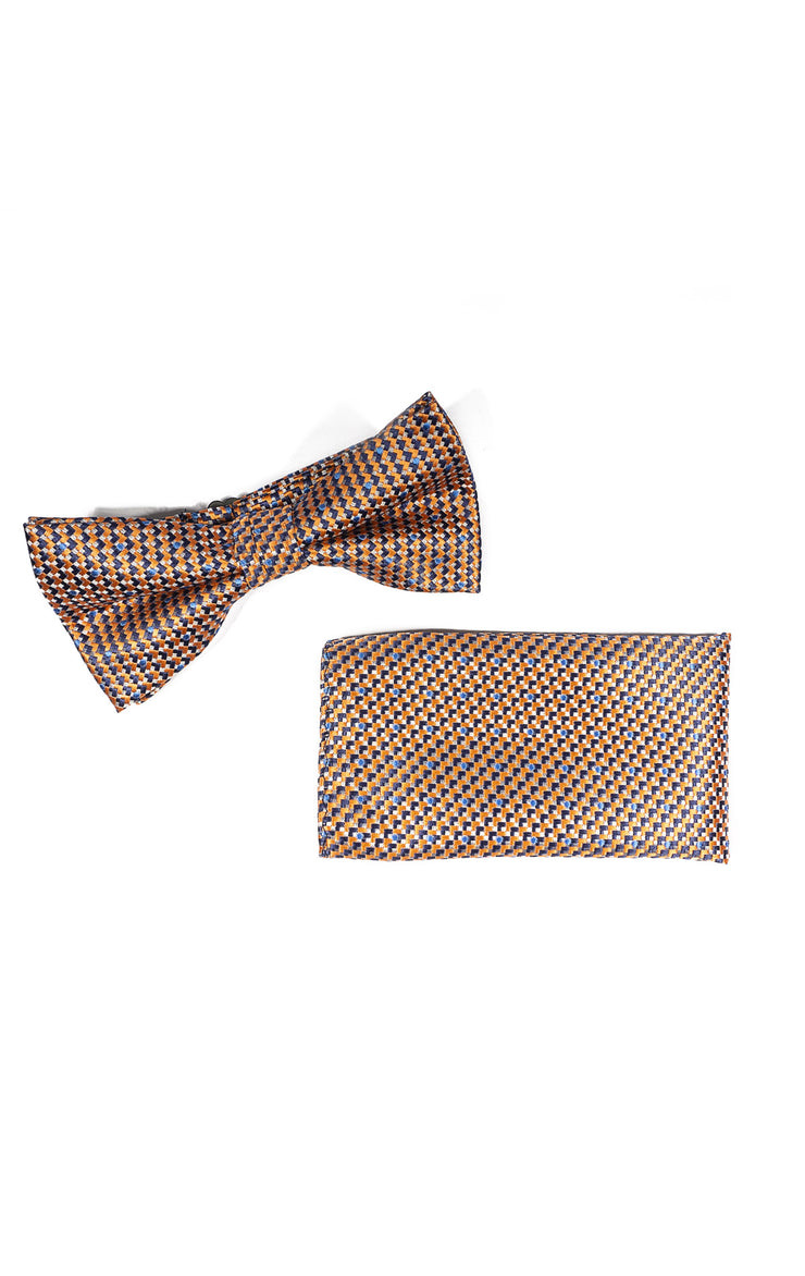 ROMAN ORANGE GEO BOWTIE & POCKET SQUARE
