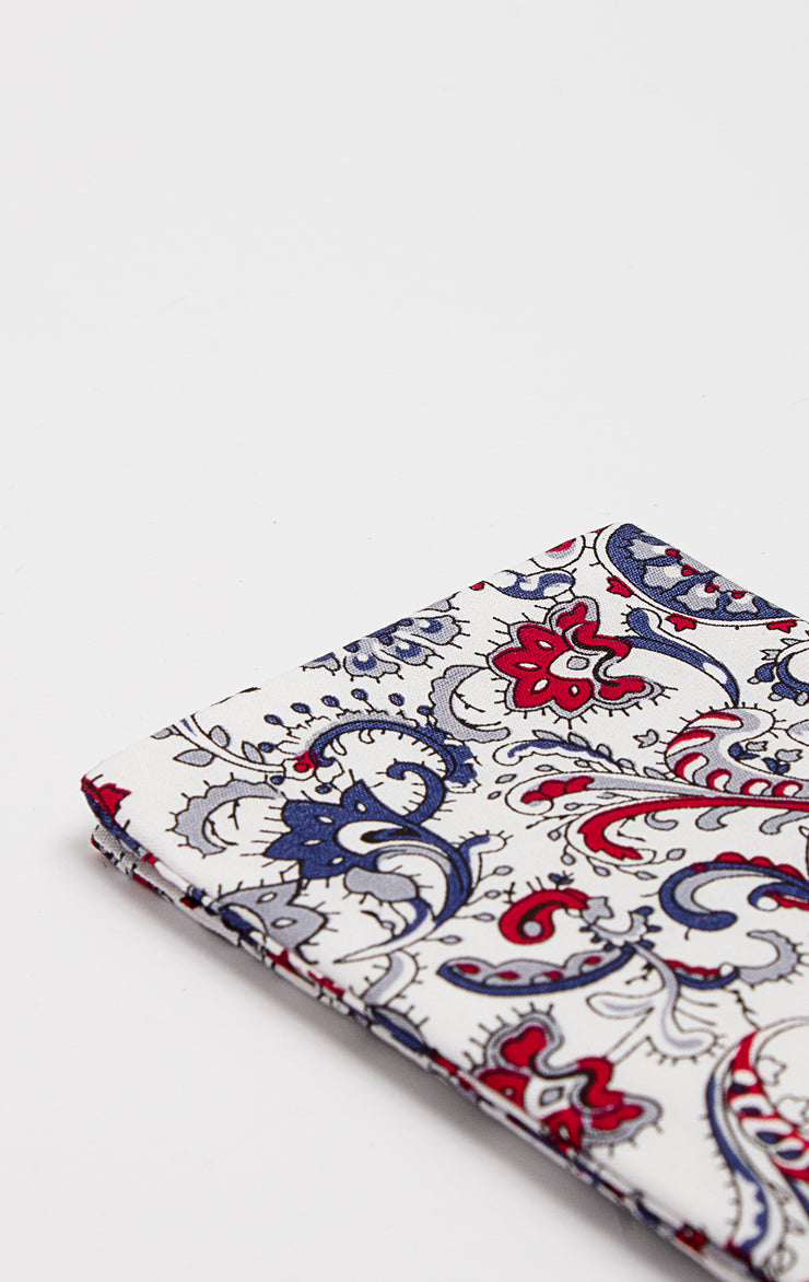 BLUE/RED PAISLEY POCKET SQUARE