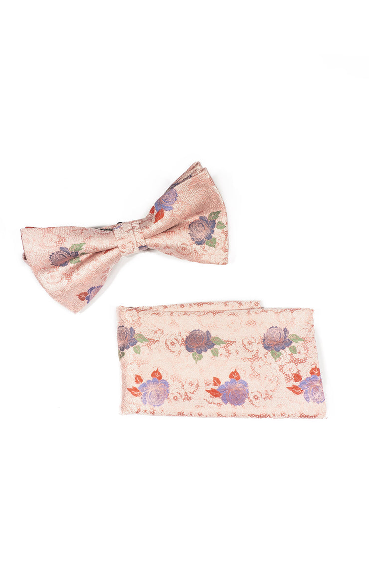 CARSTEN PINK FLORAL BOWTIE & POCKET SQUARE