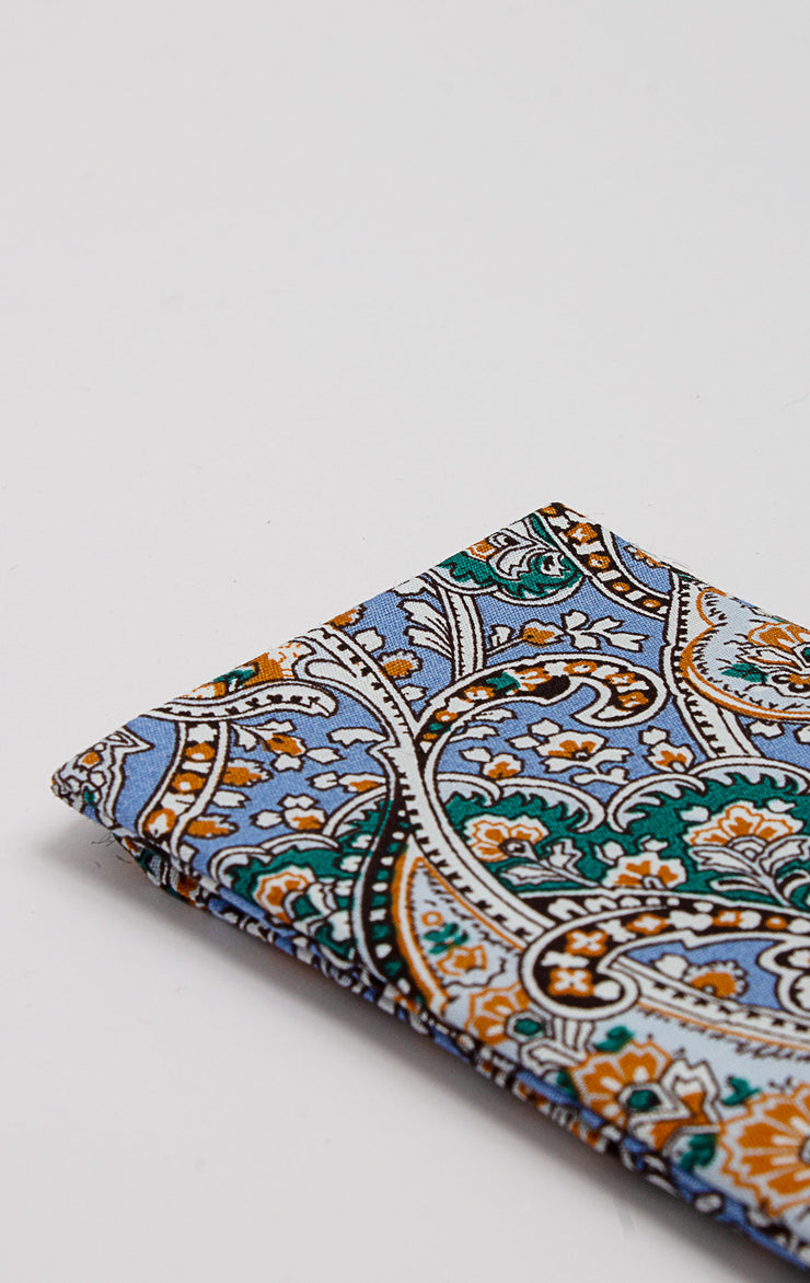 LIGHT BLUE/GREEN PAISLEY POCKET SQUARE