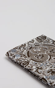 TAUPE/BROWN PAISLEY POCKET SQUARE
