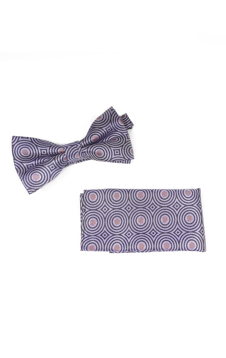 ALFRED PURPLE GEO BOWTIE & POCKET SQUARE