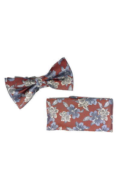 NATE RED FLORAL BOWTIE & POCKET SQUARE
