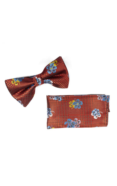 ISLEY RED FLORAL  BOWTIE & POCKET SQUARE