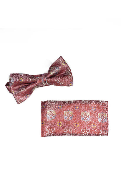 GINO RED GEO BOWTIE & POCKET SQUARE