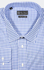 BLUE CHECK REGULAR FIT BUTTON CUFF DRESS SHIRT
