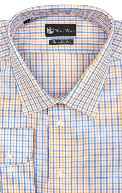 BLUE ORANGE PLAID REGULAR FIT BUTTON CUFF DRESS SHIRT