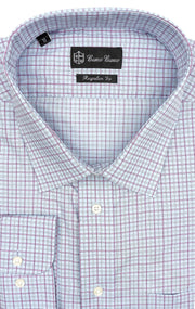 BLUE PINK PLAID REGULAR FIT BUTTON CUFF DRESS SHIRT