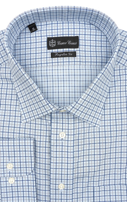 BLUE WHITE PLAID REGULAR FIT BUTTON CUFF DRESS SHIRT