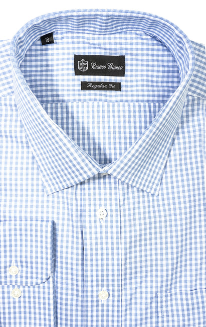 LT BLUE CHECK REGULAR FIT BUTTON CUFF DRESS SHIRT