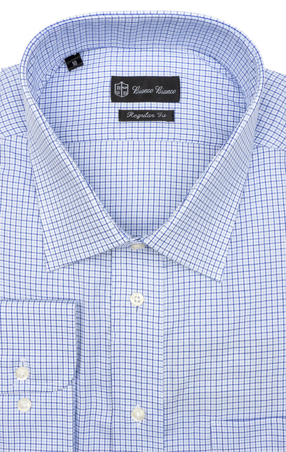 LT BLUE PLAID REGULAR FIT BUTTON CUFF DRESS SHIRT