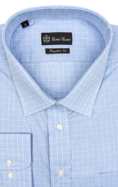 LT BLUE WHITE PLAID REGULAR FIT BUTTON CUFF DRESS SHIRT