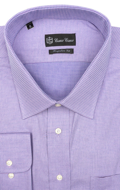 PURPLE CHECK REGULAR FIT BUTTON CUFF DRESS SHIRT