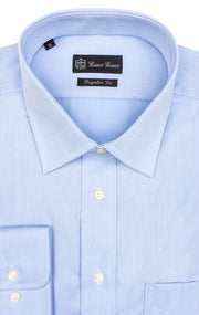 BLUE REGULR FIT BUTTON CUFF DRESS SHIRT