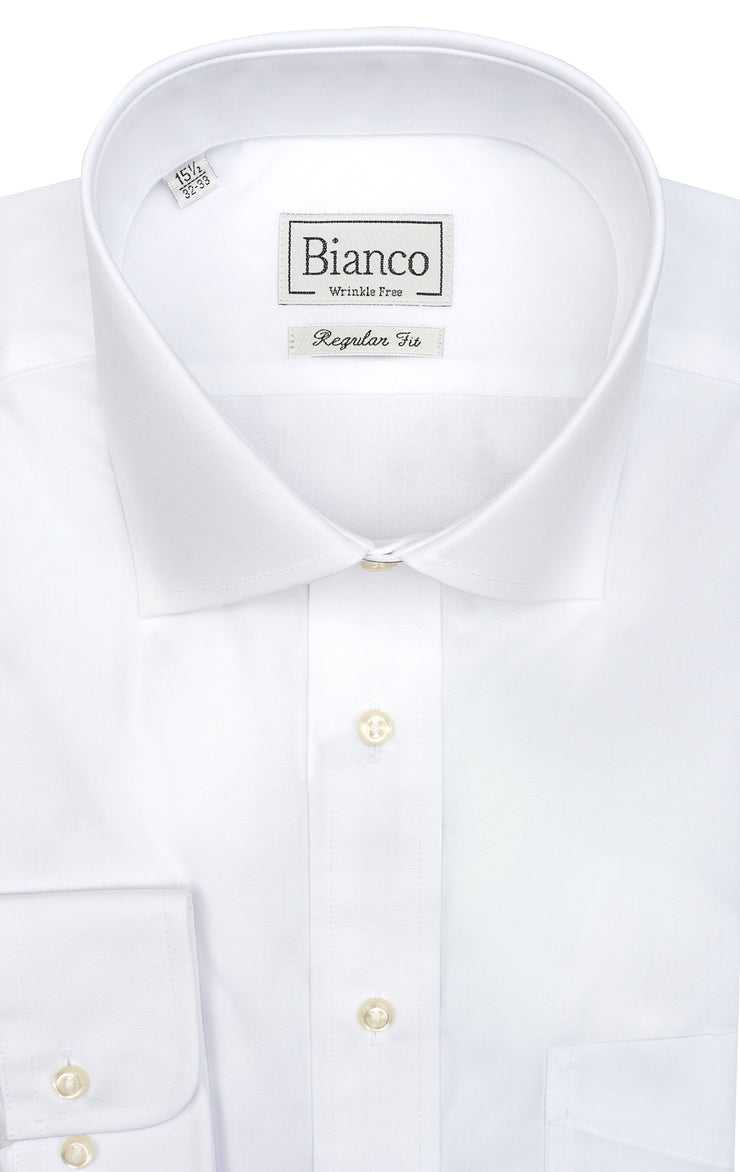 WHITE POPLIN REGULAR FIT BARREL CUFF DRESS SHIRT
