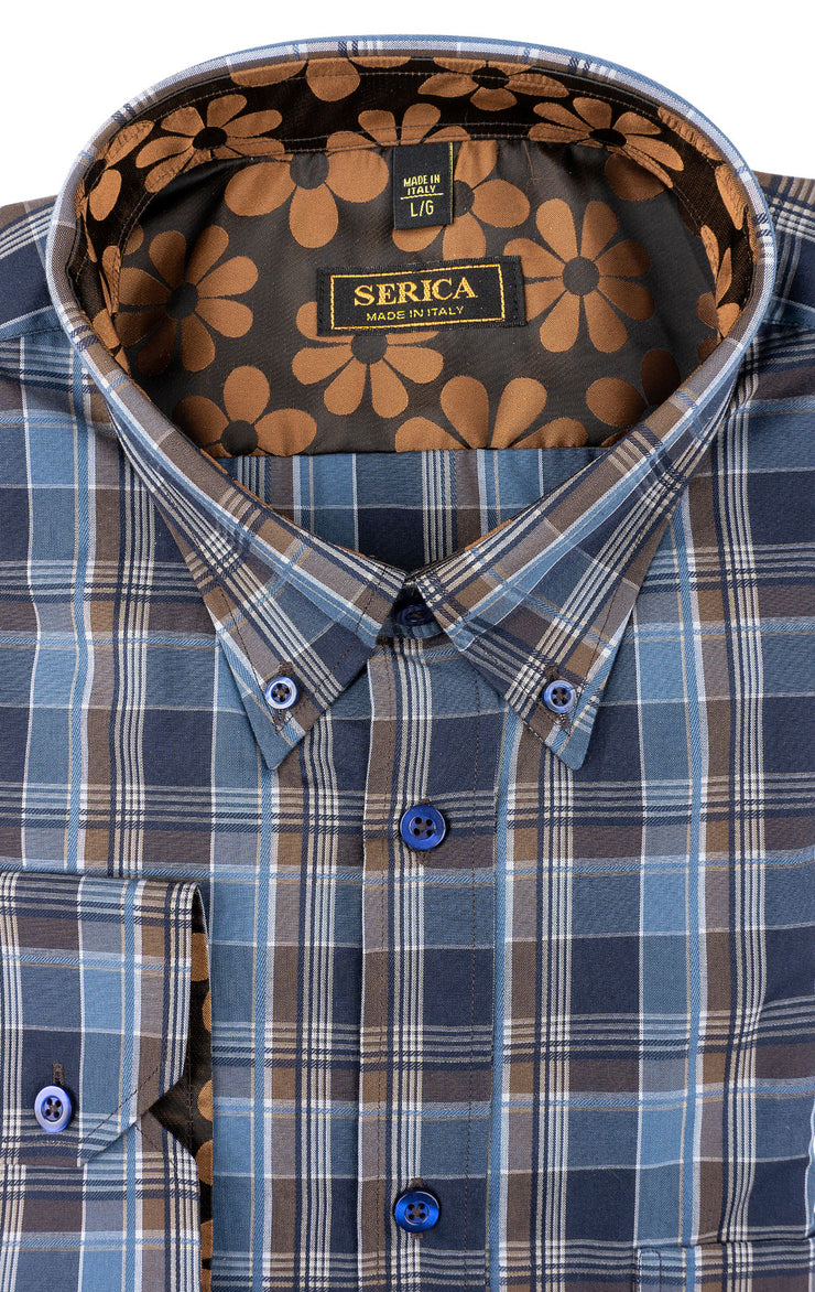 CARSON BLUE PLAID SPORT SHIRT