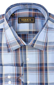 BASTIAN BLUE PLAID SPORT SHIRT