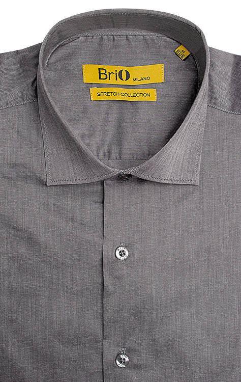 BRIO GREY SOLID DRESS SHIRT