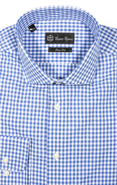 BLUE CHECK SLIM FIT BUTTON CUFF DRESS SHIRT