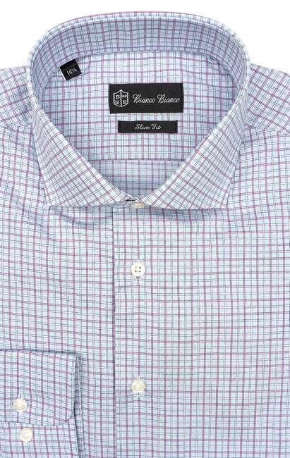 BLUE PINK PLAID SLIM FIT BUTTON CUFF DRESS SHIRT