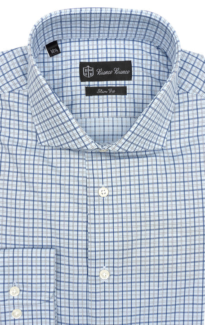 BLUE WHITE PLAID SLIM FIT BUTTON CUFF DRESS SHIRT