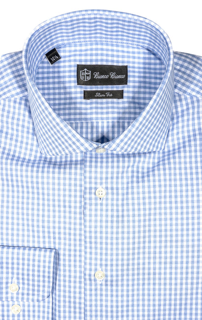 LT BLUE CHECK SLIM FIT BUTTON CUFF DRESS SHIRT