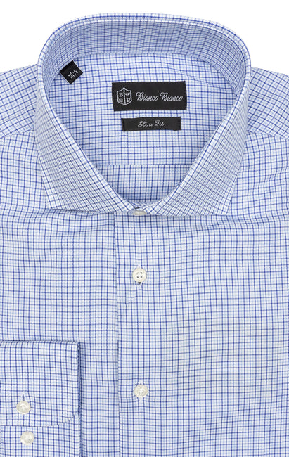 LT BLUE PLAID SLIM FIT BUTTON CUFF DRESS SHIRT