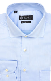 BLUE SLIM FIT BUTTON CUFF DRESS SHIRT