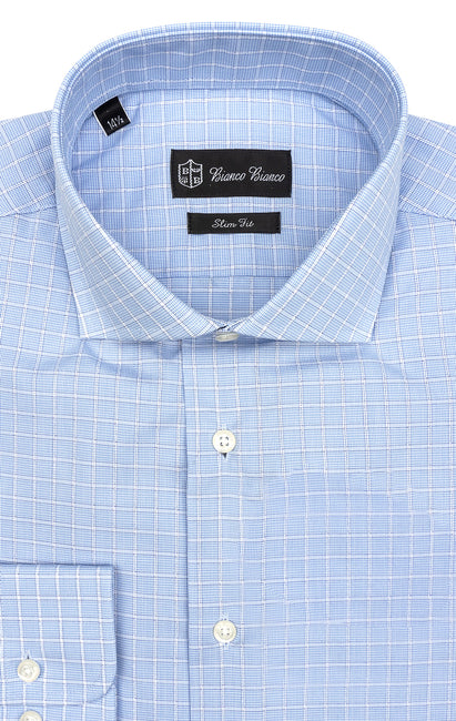 LT BLUE WHITE PLAID SLIM FIT BUTTON CUFF DRESS SHIRT