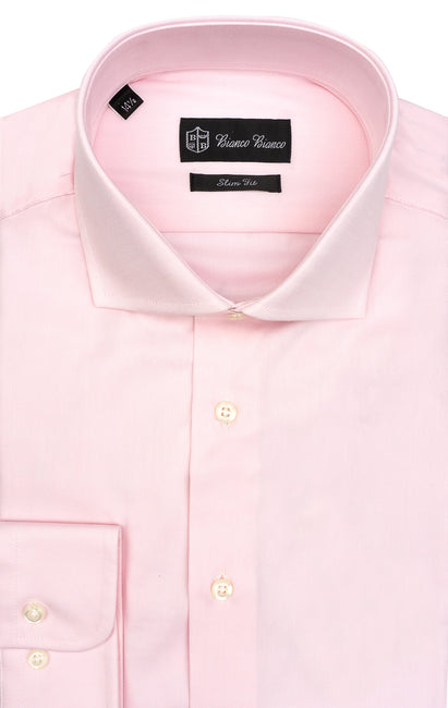 PINK SLIM FIT BUTTON CUFF DRESS SHIRT