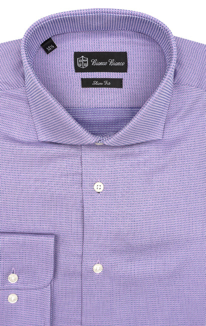 PURPLE CHECK SLIM FIT BUTTON CUFF DRESS SHIRT