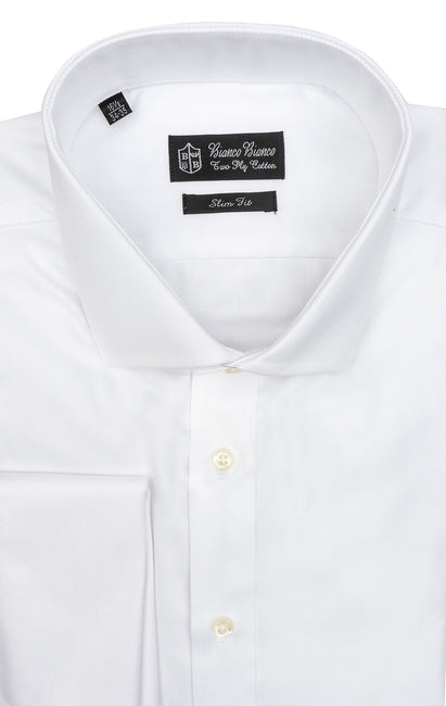 WHITE HERRINGBONE SLIM FIT FRENCH CUFF DRESS SHIRT