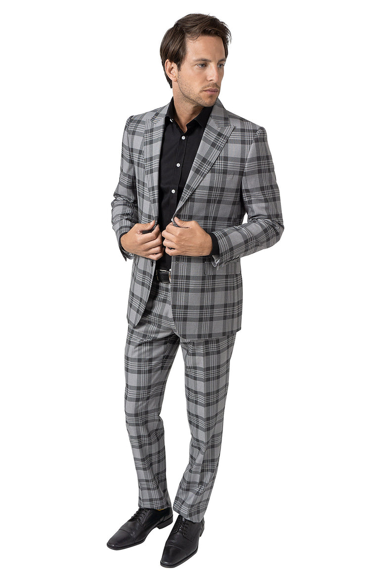 PAUL GREY PLAID SLIM FIT SUIT