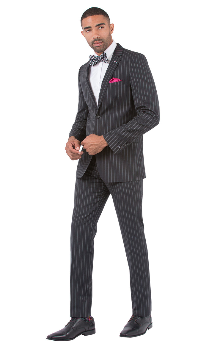 BURMAN CHARCOAL CHALKSTRIPE SLIM FIT SUIT