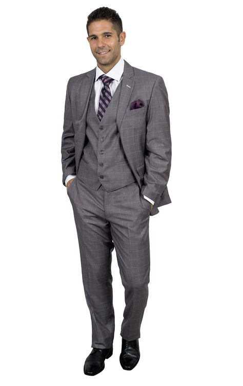 TOLSTOY GREY TAILORED FIT 3 PC SUIT