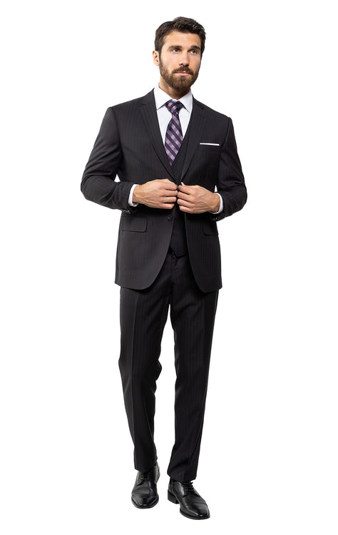 DONOVAN BLACK TAILORED FIT 3 PC SUIT
